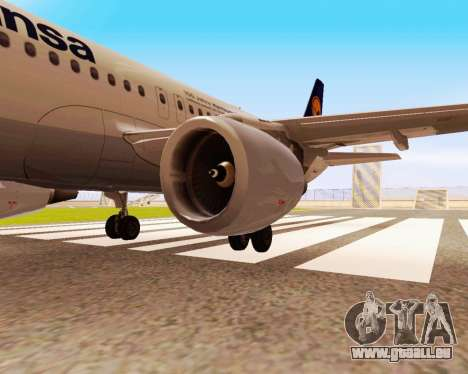 Airbus A320-200 Lufthansa pour GTA San Andreas sur la vue arrière gauche