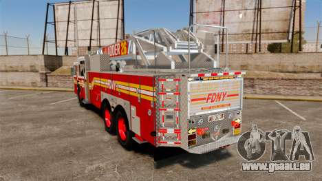 Ferrara 100 Aerial Ladder FDNY [working ladder] für GTA 4 hinten links Ansicht