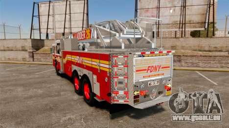 Ferrara 100 Aerial Ladder FDNY [working ladder] für GTA 4 hinten links Ansicht