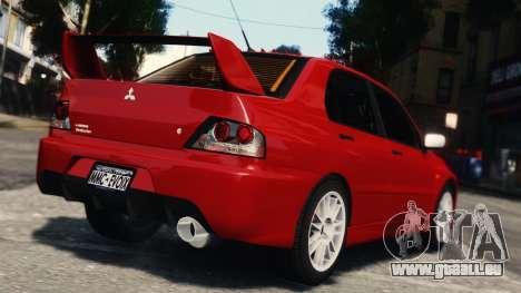 Mitsubishi Lancer Evolution IX für GTA 4 Rückansicht