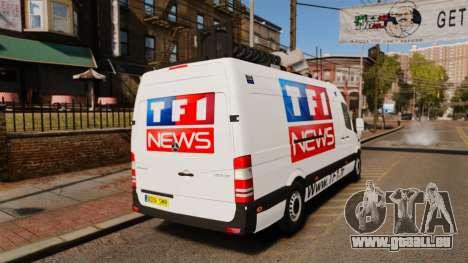 Mercedes-Benz Sprinter TF1 News [ELS] pour GTA 4 Vue arrière de la gauche