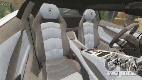 Lamborghini Aventador LP700-4 2012 Adidas Carbon pour GTA 4 est une vue de l'intérieur