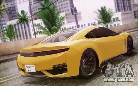 GTA V Dinka Jester IVF pour GTA San Andreas sur la vue arrière gauche