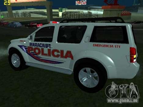 Nissan Pathfinder Polimaracaibo pour GTA San Andreas sur la vue arrière gauche