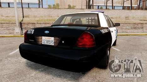 Ford Crown Victoria San Francisco Police [ELS] pour GTA 4 Vue arrière de la gauche