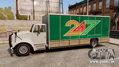 Benson mit der neuen Werbung für GTA 4 hinten links Ansicht