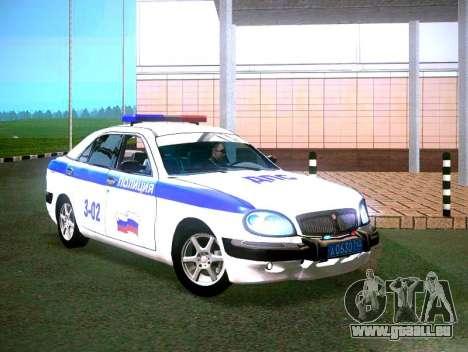 GAZ Volga 3111 DPS pour GTA San Andreas sur la vue arrière gauche