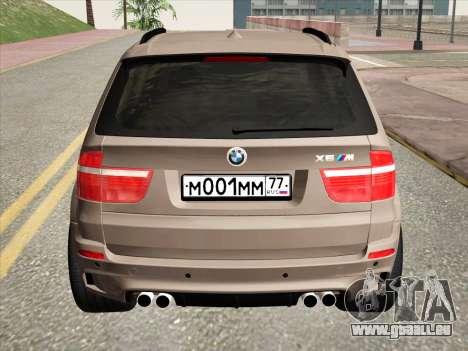 BMW X5M E70 2010 für GTA San Andreas Rückansicht