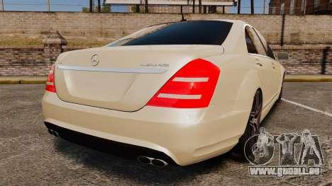 Mercedes-Benz S65 (W221) AMG pour GTA 4 Vue arrière de la gauche