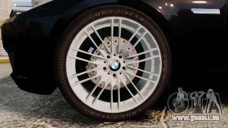 BMW M5 F10 2012 Unmarked Police [ELS] pour GTA 4 Vue arrière