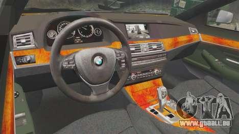 BMW M5 F10 2012 Unmarked Police [ELS] pour GTA 4 est une vue de l'intérieur