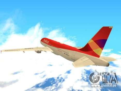 Airbus A320 Avianca Columbia pour GTA San Andreas vue arrière