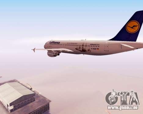 Airbus A320-200 Lufthansa für GTA San Andreas obere Ansicht