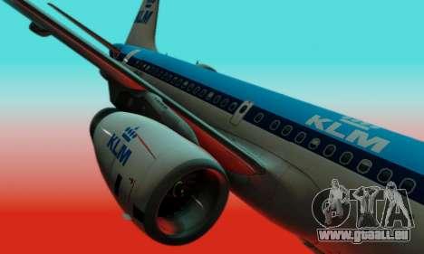 Airbus A319 KLM pour GTA San Andreas vue intérieure