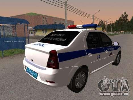 Renault Logan ДПС pour GTA San Andreas sur la vue arrière gauche