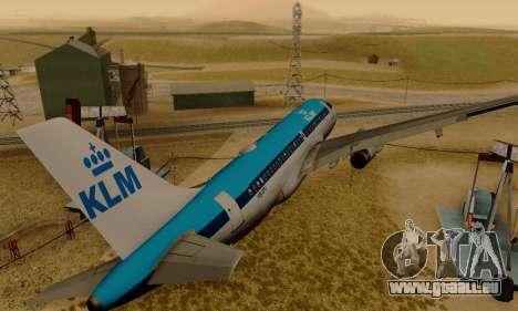 Airbus A319 KLM für GTA San Andreas rechten Ansicht