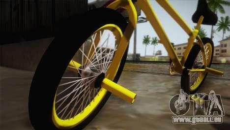 New BMX Yellow pour GTA San Andreas sur la vue arrière gauche