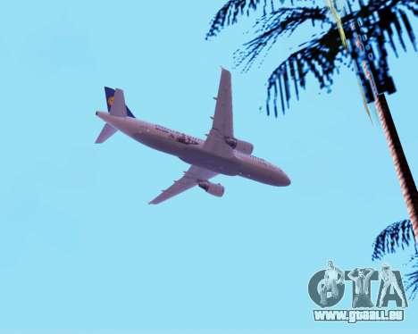 Airbus A320-200 Lufthansa für GTA San Andreas Unteransicht