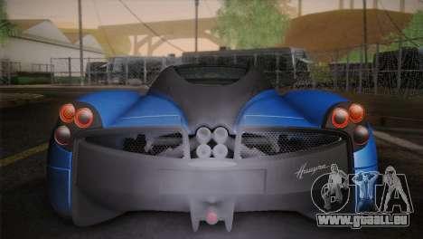 Pagani Huayra pour GTA San Andreas vue de dessous