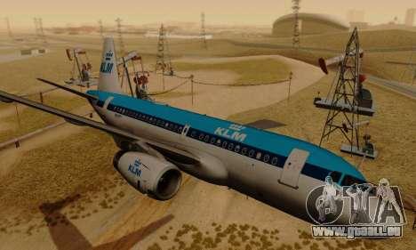 Airbus A319 KLM pour GTA San Andreas sur la vue arrière gauche