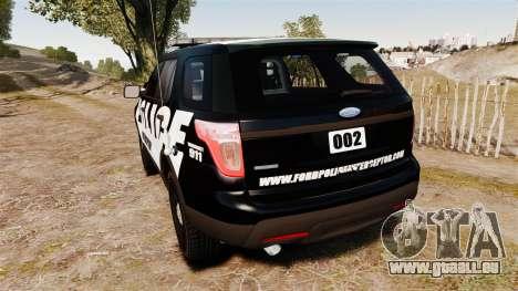 Ford Explorer 2013 Police Interceptor [ELS] pour GTA 4 Vue arrière de la gauche