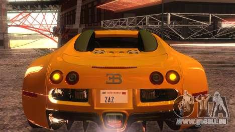 Bugatti Veyron 2009 pour GTA San Andreas vue intérieure