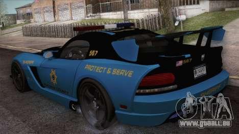 Dodge Viper SRT 10 ACR Police Car pour GTA San Andreas sur la vue arrière gauche