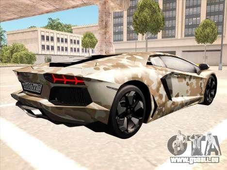 Lamborghini Aventador LP700-4 2013 pour GTA San Andreas laissé vue