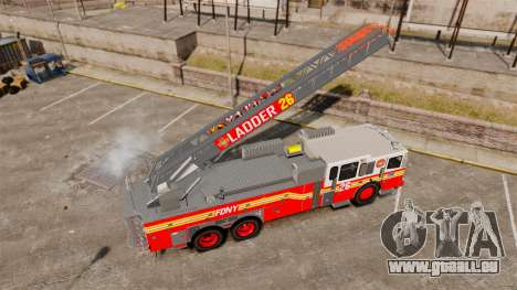 Ferrara 100 Aerial Ladder FDNY [working ladder] für GTA 4 Rückansicht