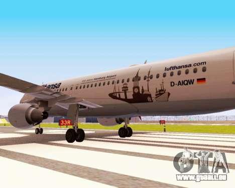 Airbus A320-200 Lufthansa für GTA San Andreas Rückansicht