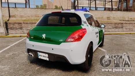 Peugeot 308 GTi 2011 Guardia Civil pour GTA 4 Vue arrière de la gauche