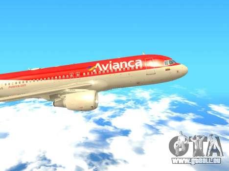 Airbus A320 Avianca Columbia für GTA San Andreas zurück linke Ansicht