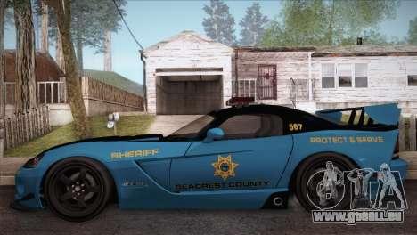 Dodge Viper SRT 10 ACR Police Car pour GTA San Andreas laissé vue