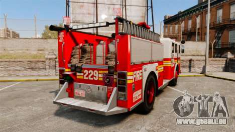 Fire Truck v1.4A FDLC [ELS] pour GTA 4 Vue arrière de la gauche