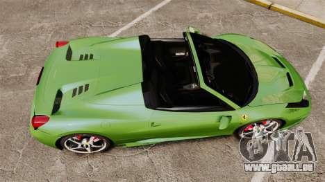 Ferrari 458 Spider Speciale für GTA 4 rechte Ansicht