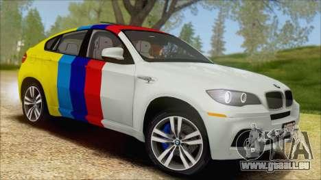 BMW X6M E71 2013 300M Wheels für GTA San Andreas obere Ansicht