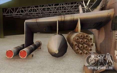 Mi-24D Hind from Modern Warfare 2 pour GTA San Andreas sur la vue arrière gauche