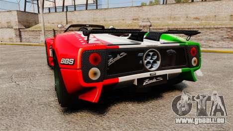 Pagani Zonda C12 S Roadster 2001 PJ6 pour GTA 4 Vue arrière de la gauche