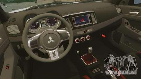 Mitsubishi Lancer Evolution X FQ400 pour GTA 4 vue de dessus