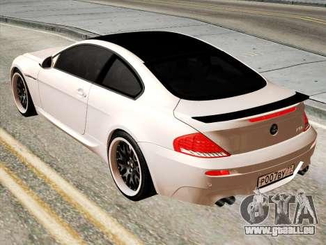 BMW M6 Hamann pour GTA San Andreas sur la vue arrière gauche