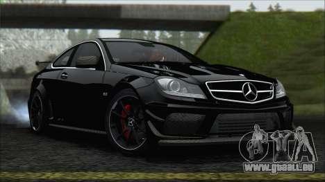 Mercedes C63 AMG Black Series 2012 pour GTA San Andreas sur la vue arrière gauche