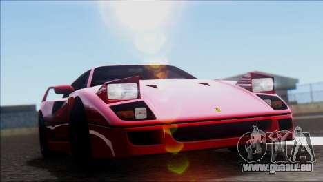Ferrari F40 1987 pour GTA San Andreas sur la vue arrière gauche