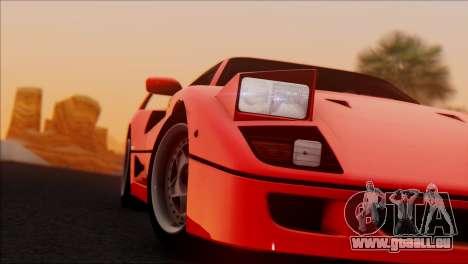 Ferrari F40 1987 pour GTA San Andreas laissé vue