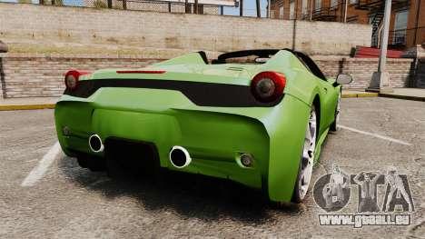 Ferrari 458 Spider Speciale pour GTA 4 Vue arrière de la gauche