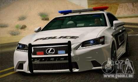 Lexus GS350 F Sport Series IV Police 2013 pour GTA San Andreas laissé vue