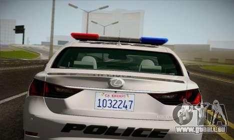 Lexus GS350 F Sport Series IV Police 2013 pour GTA San Andreas vue arrière
