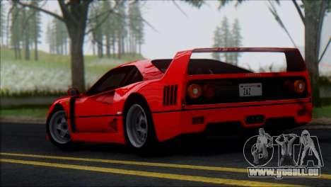 Ferrari F40 1987 für GTA San Andreas Seitenansicht