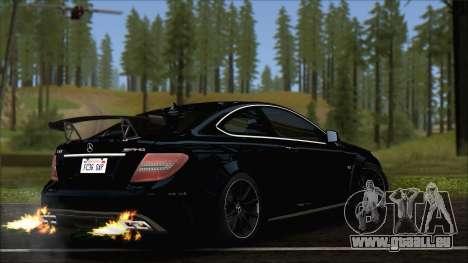 Mercedes C63 AMG Black Series 2012 pour GTA San Andreas laissé vue