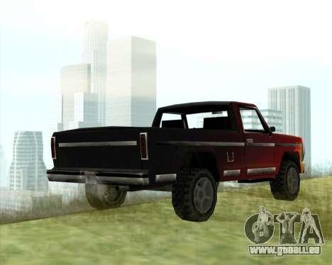 La Nouvelle Jeep (Yosemite) pour GTA San Andreas sur la vue arrière gauche