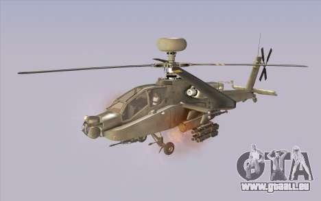 AH-64D Longbow Apache pour GTA San Andreas sur la vue arrière gauche